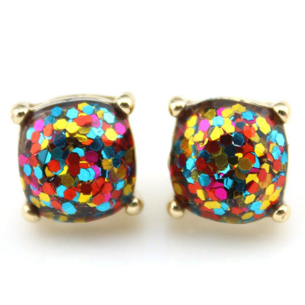 876134eb9 Usaboutall Evening Party Glitter Square Resin Ear Stud Fashion Earrings  Women Jewelry Gift (Blue Rainbow) #affiliate #glitter #earrings