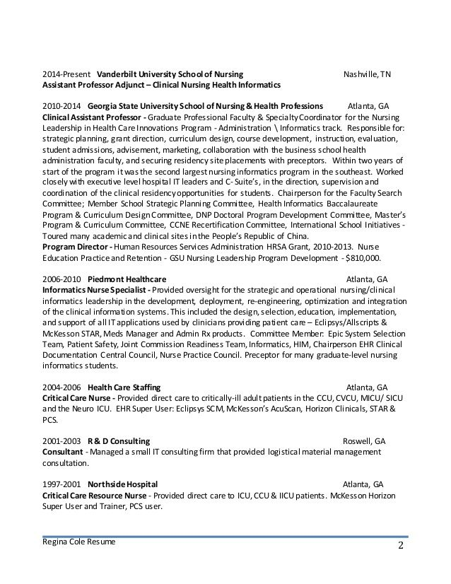 regina cole resume builder word cover letter free Home Design - nursing informatics sample resume