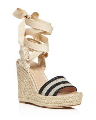a85d893fb65c KATE SPADE Delano Glitter Stripe Lace Up Espadrille Platform Sandals.   katespade  shoes  sandals