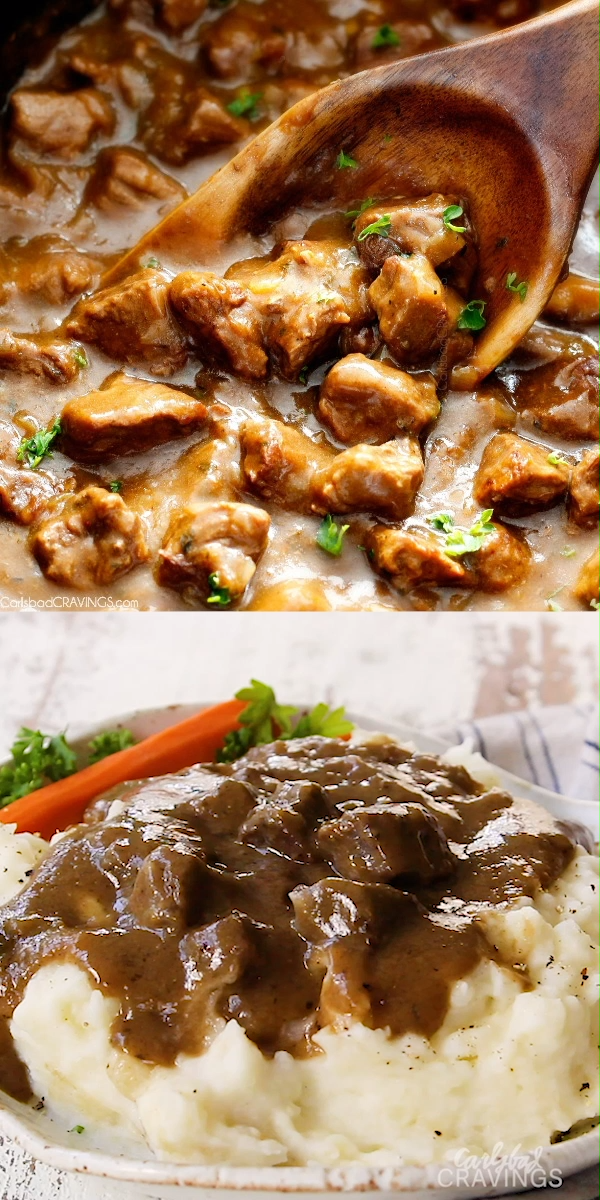 Photo of SLOW COOKER BEEF TIPS AND GRAVY (NO CREAM SOUP!)