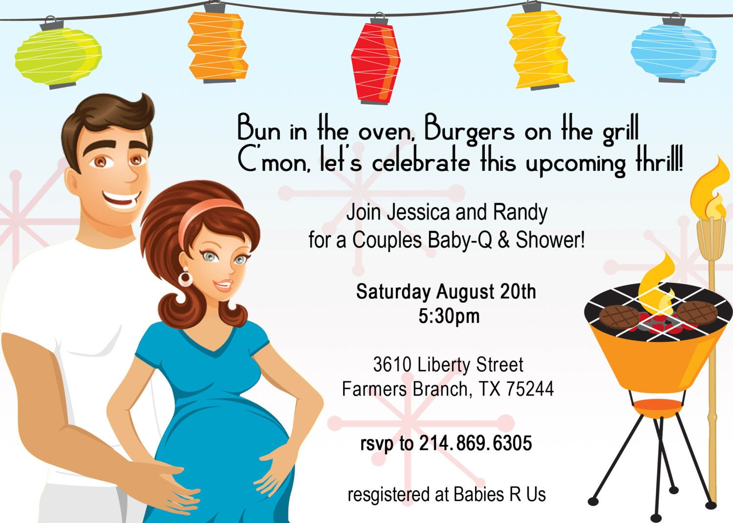 Retro Coed Baby Bbq Shower Invitation  Babies Shower Invitations