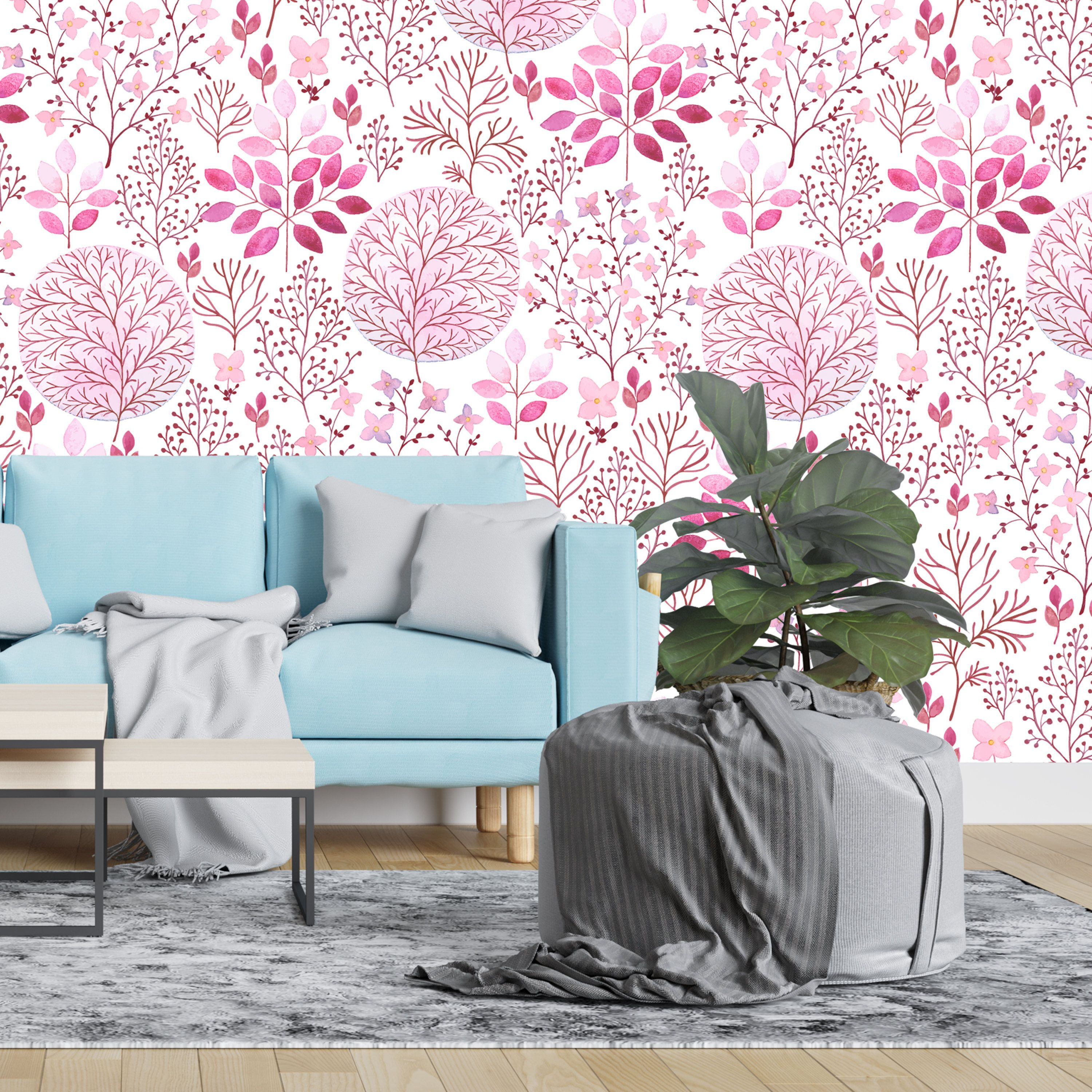 Removable Wallpaper Vintage Pink Watercolor Floral