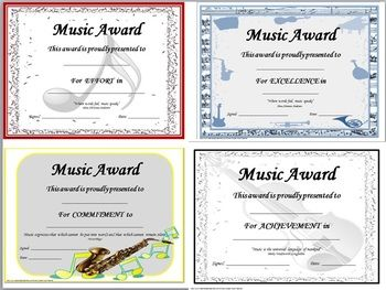 Music Awards Editable Music Award Certificates  Music Awards