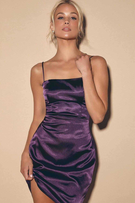 Emalee purple satin bodycon mini dress in 2020 satin