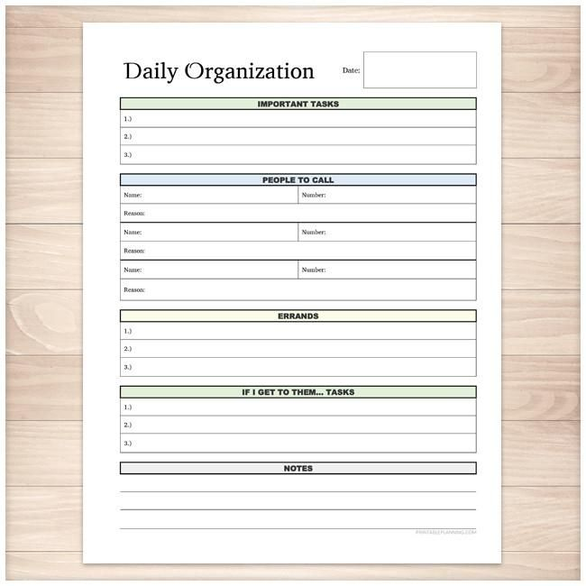 Daily Organization Category Task Sheet  Printable  Get Organized