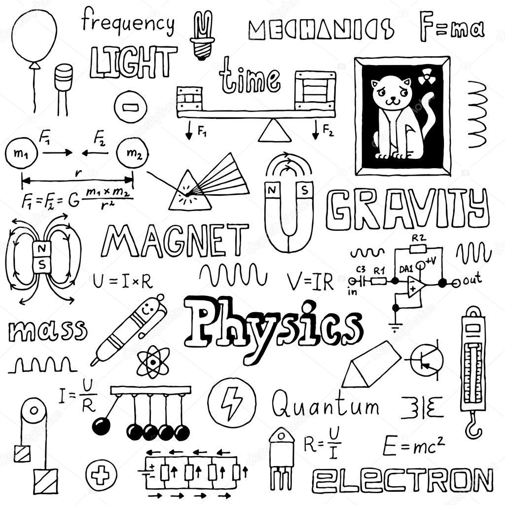 Download royalty-free Physics doodles. Hand drawn