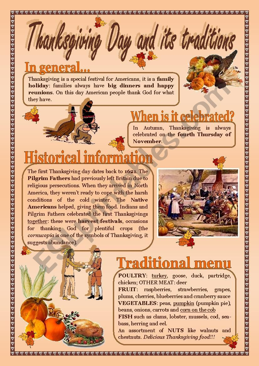 Easy Reading Comprehension On Thanksgiving Day Activities And Some Fun Tasks On Page 2 Hope You Like It Thanksgiving Thanksgiving Day Easy Reading [ 1169 x 826 Pixel ]