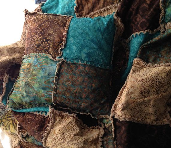 Batik rag quilt throw in warm browns, teal, khaki and turquoise 64 ... : teal and brown quilt - Adamdwight.com