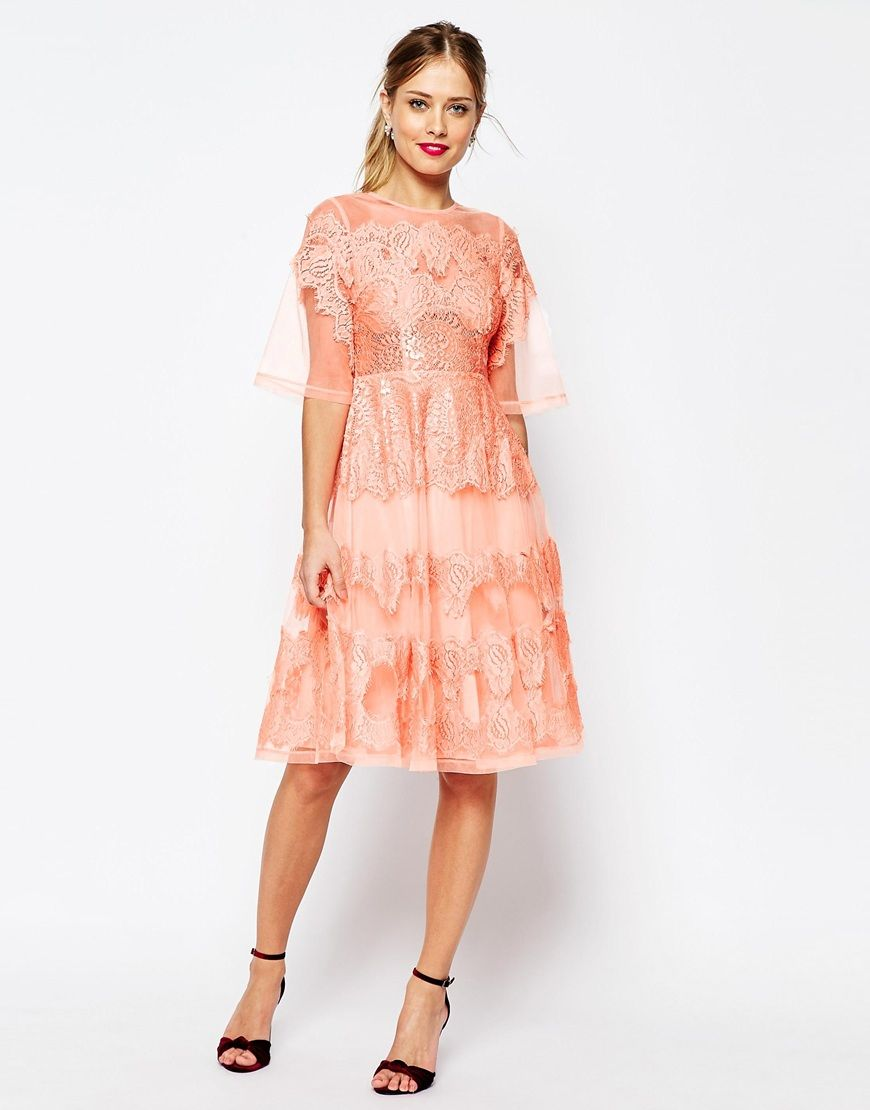 Asos wedding guest dress midi  Image  of ASOS SALON Lace And Organza Midi Dress  My Style
