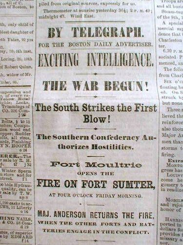 Headline Newspaper Civil War Begins Ft Sumter Attacked By