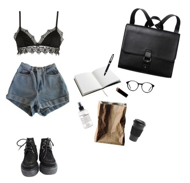 """""""simple black"""" by leansshawty on Polyvore featuring Mode, American Apparel, Ermanno Scervino Lingerie, House of Hackney, philosophy, Rosenthal, Montblanc, GAS Jeans, Homage und Monki"""