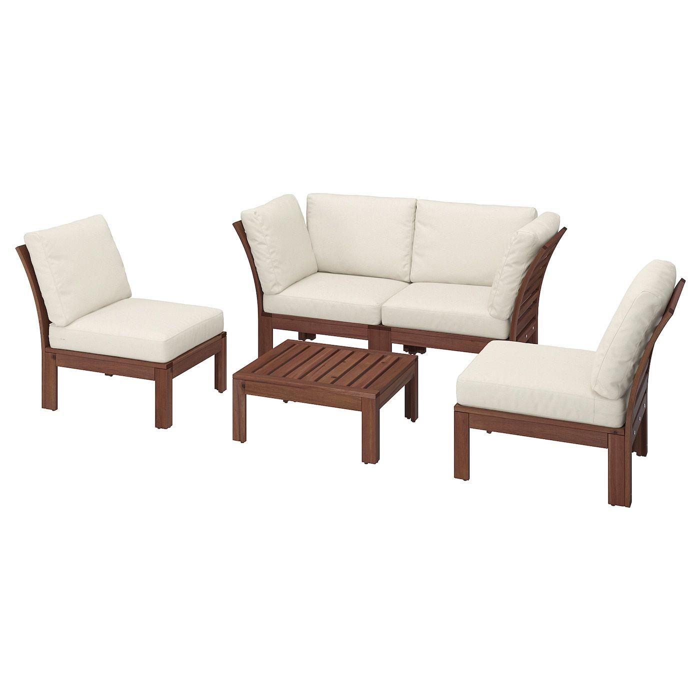 Applaro 4 Seat Conversation Set Outdoor Brown Stained Froson Duvholmen Beige Ikea In 2020 Furniture Ikea Outdoor Ikea