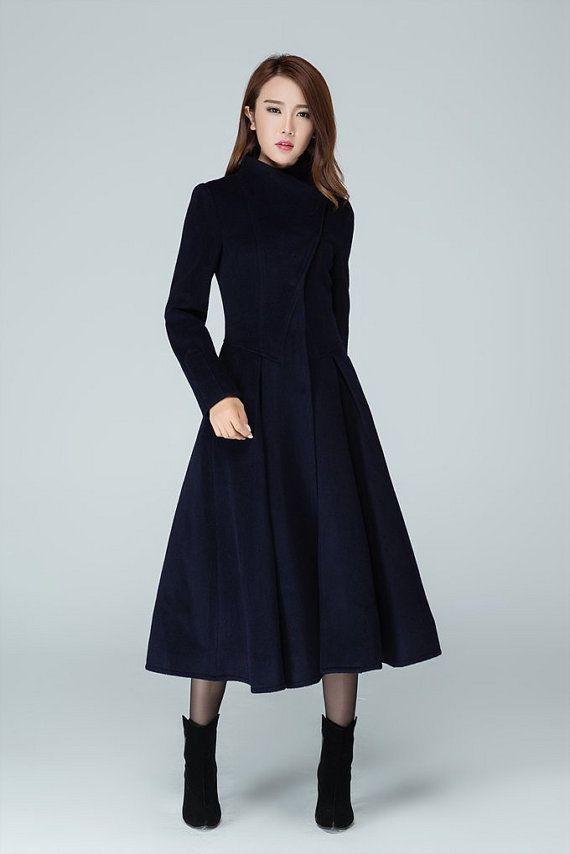 Long trench coat, navy coat, womens coats, swing coat, stand ...