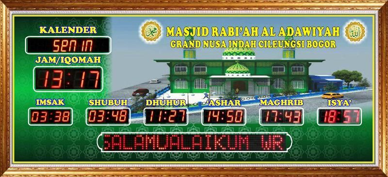 Pengiriman Jadwal Sholat Abadi Masjid Rabiah Al Adawiyah Celeungsi
