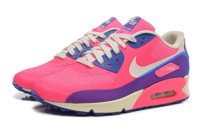 Nike Air Max 90 Hyperfuse Womens Pink Royal Blue Beige Purple Shoes