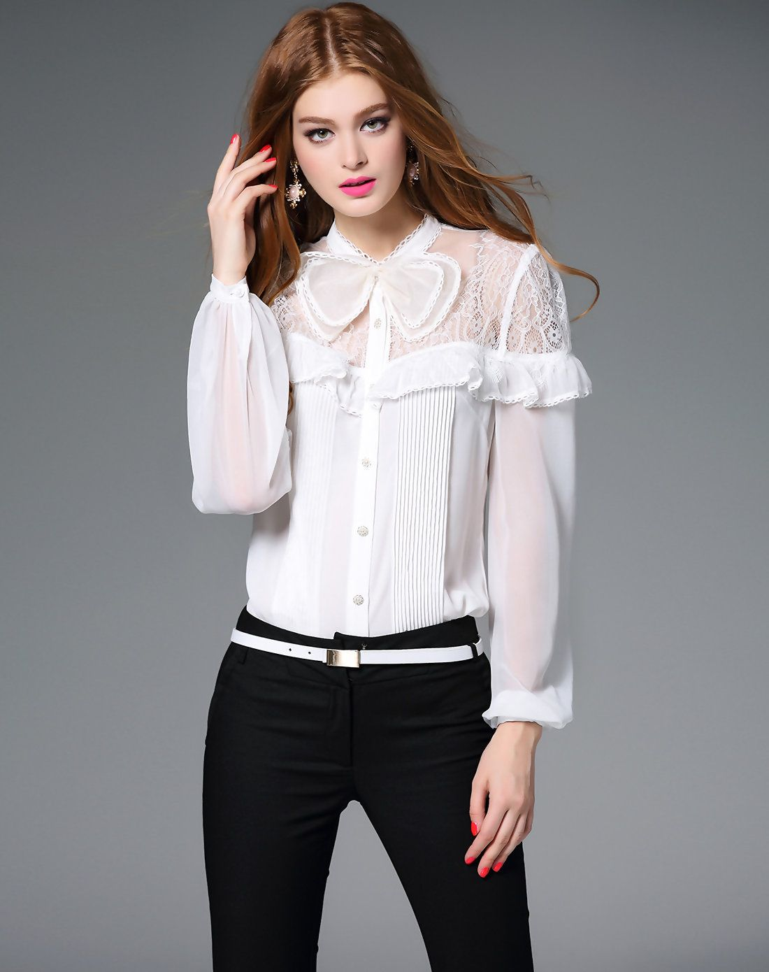 7dfea7fb40dc8 Top Quality New 2017 Autumn Blouses Women Lace Patchwork Bow Collar Long  Sleeve Shirt Ladies Black White Sexy Shirt Blouses XL