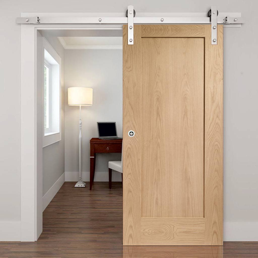 Single Sliding Door Track Pattern 10 Oak 1 Panel Door Prefinished In 2020 Barn Style Sliding Doors Sliding Doors Barn Style Doors