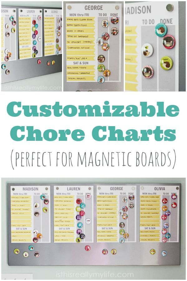 Customizable Chore Charts Perfect For Magnetic Boards  Chart Board