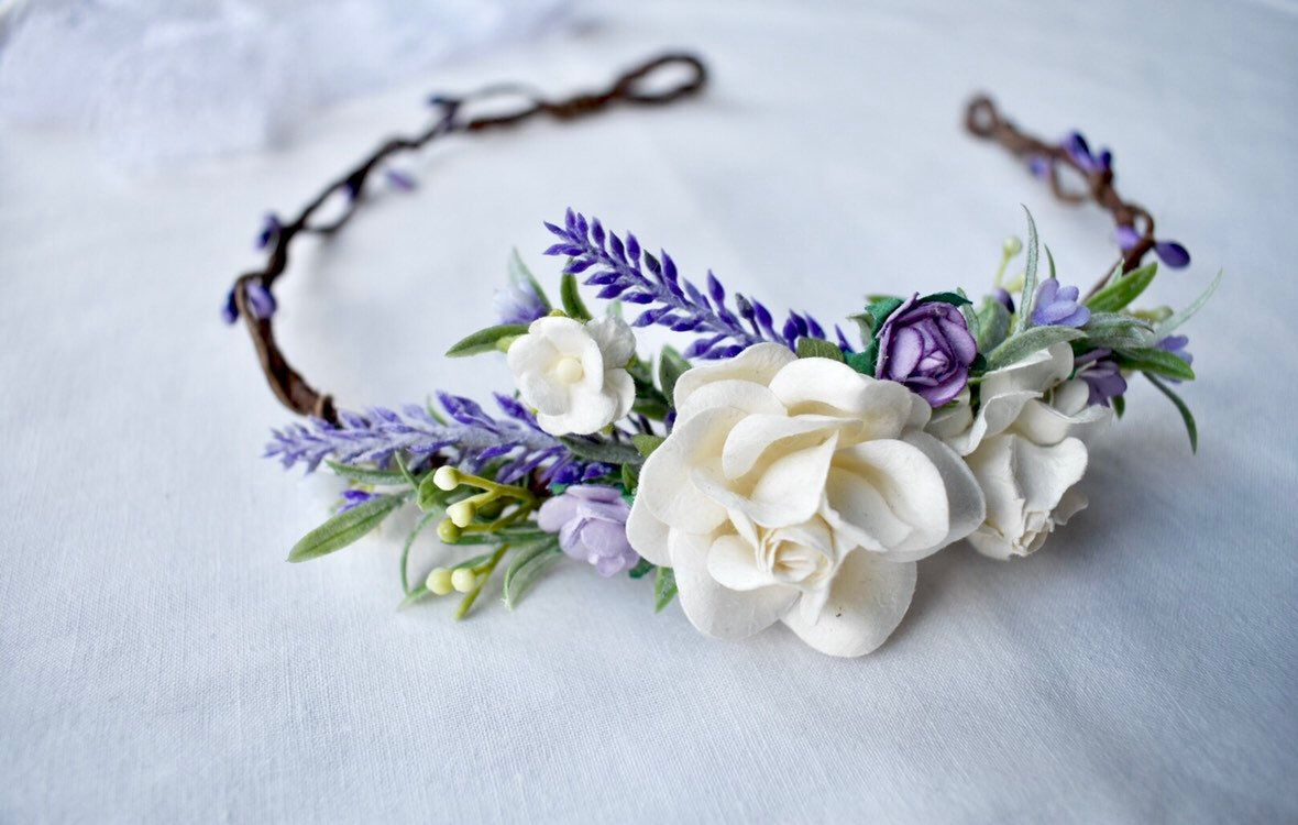 Lavender Flower Crown Bridal Hair Accessories Wedding Hairband