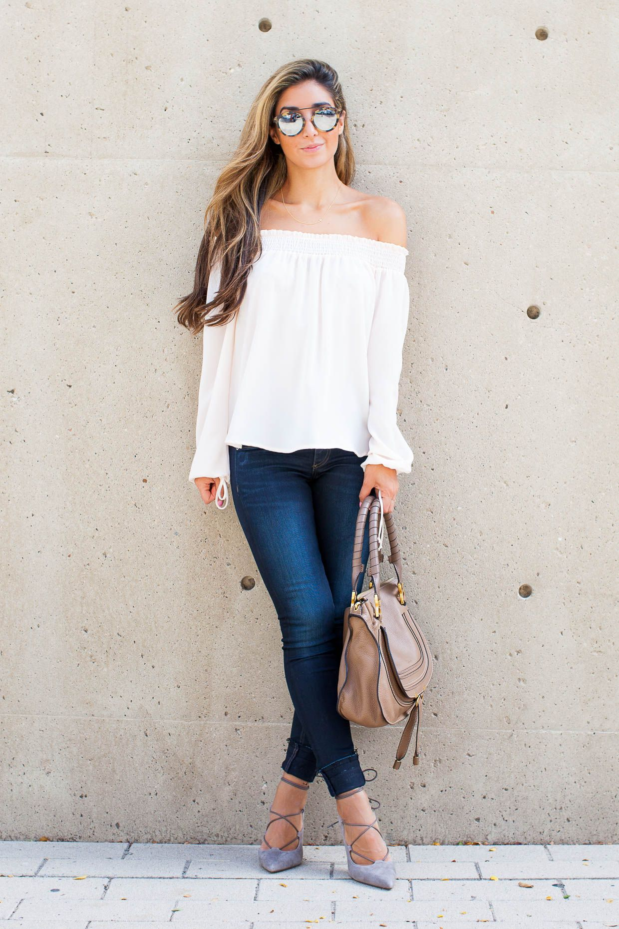 63a13917e5e5 Fashion Blogger The Darling Detail is wearing a Chelsea28 Off the Shoulder  Top