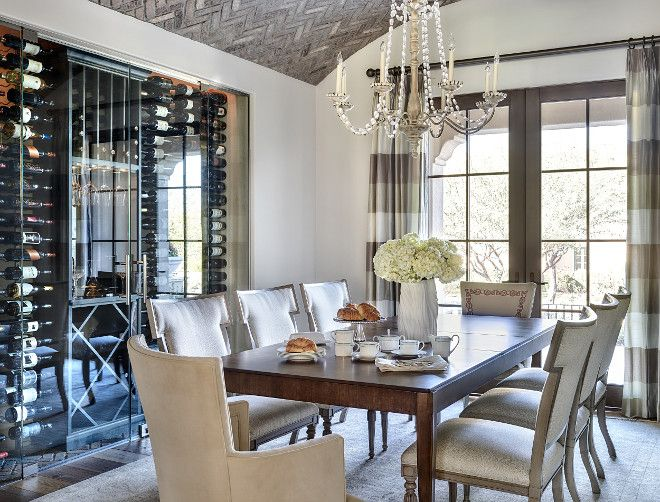 Glass Enclosed Wine Cellar Dining Room With Vaulted Herringbone Brick Ceiling French Doors And Custom Gla Dining Room Small Elegant Dining Room Luxury Dining
