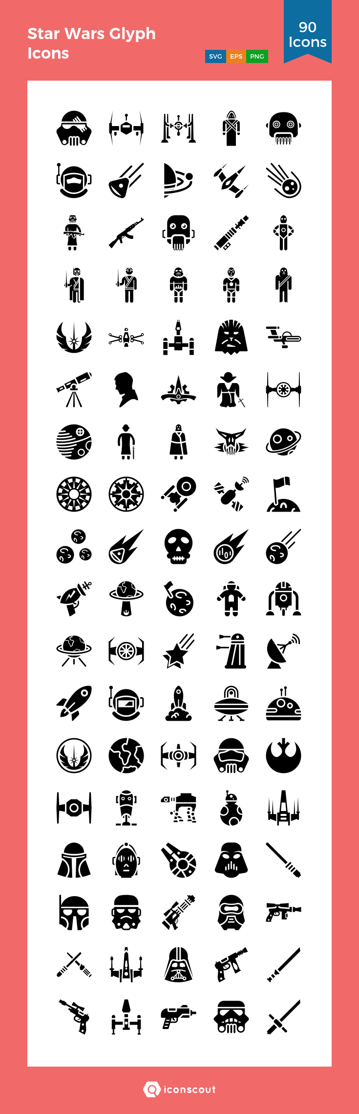 Star Wars Glyph Icons Icon Pack 90 Solid Icons Glyph