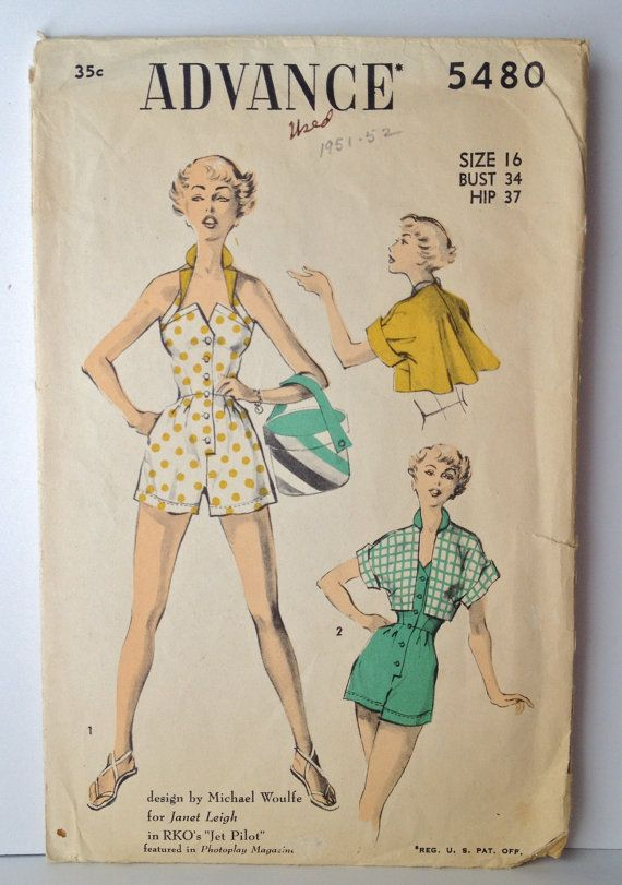 Vintage 50s Playsuit Sewing Pattern Advance 5480 Size 16, Bust 34 ...