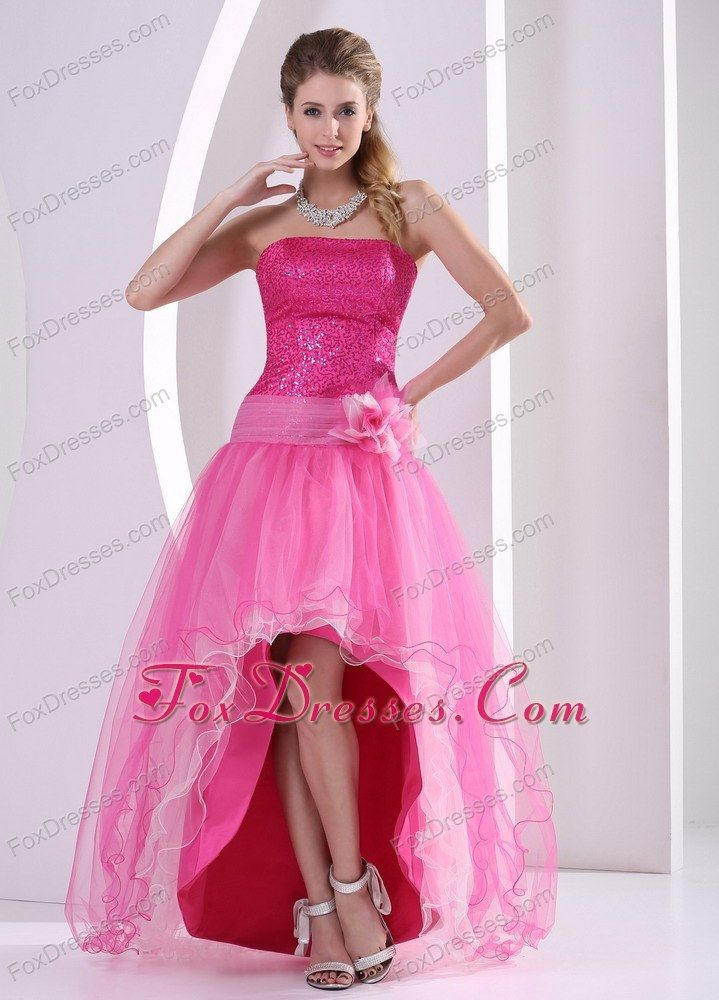 $152 - Hot Pink High-low Sequins Hand Flower Prom Dress Organza ...