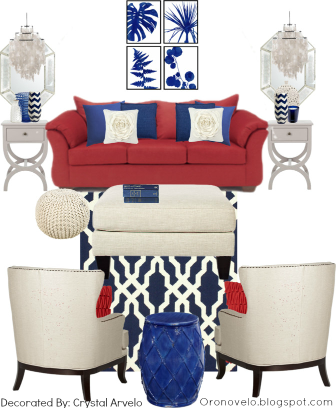 Red Couch Home Decorating Ideas With White And Blue Decor More Living RoomLiving