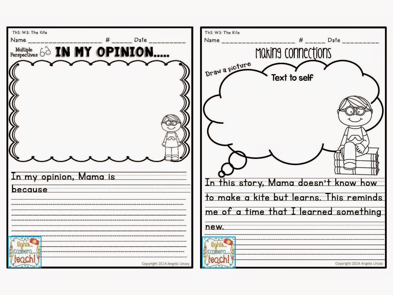Every Story Has An Opinion Writing And A Text Connection Worksheet Perfect For Common Core First Gr 1st Grade Writing Text To Text Connections Text To Self