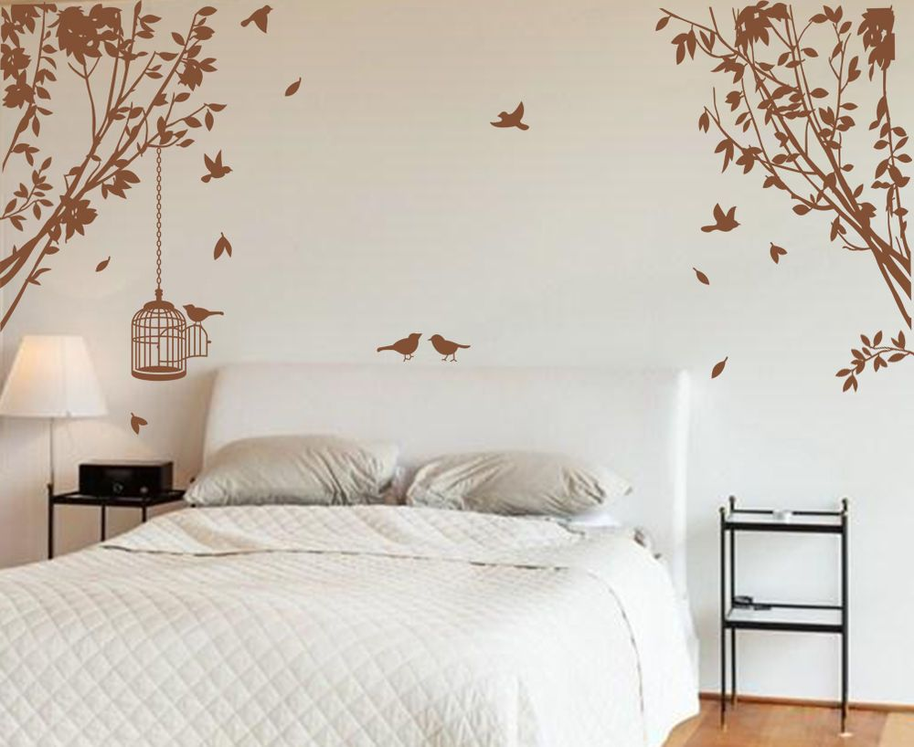 Large Side Wall Tree Branch with Cage& Birds Art Vinyl Wall Sticker HIGH QUALITY