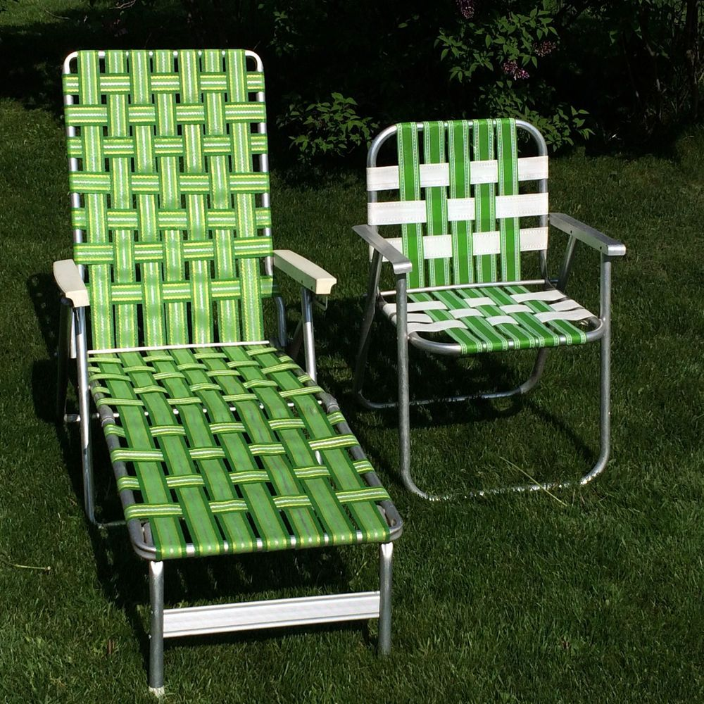 Vintage Green Webbed Web Cushion Aluminum Folding Chaise Lounge Lawn