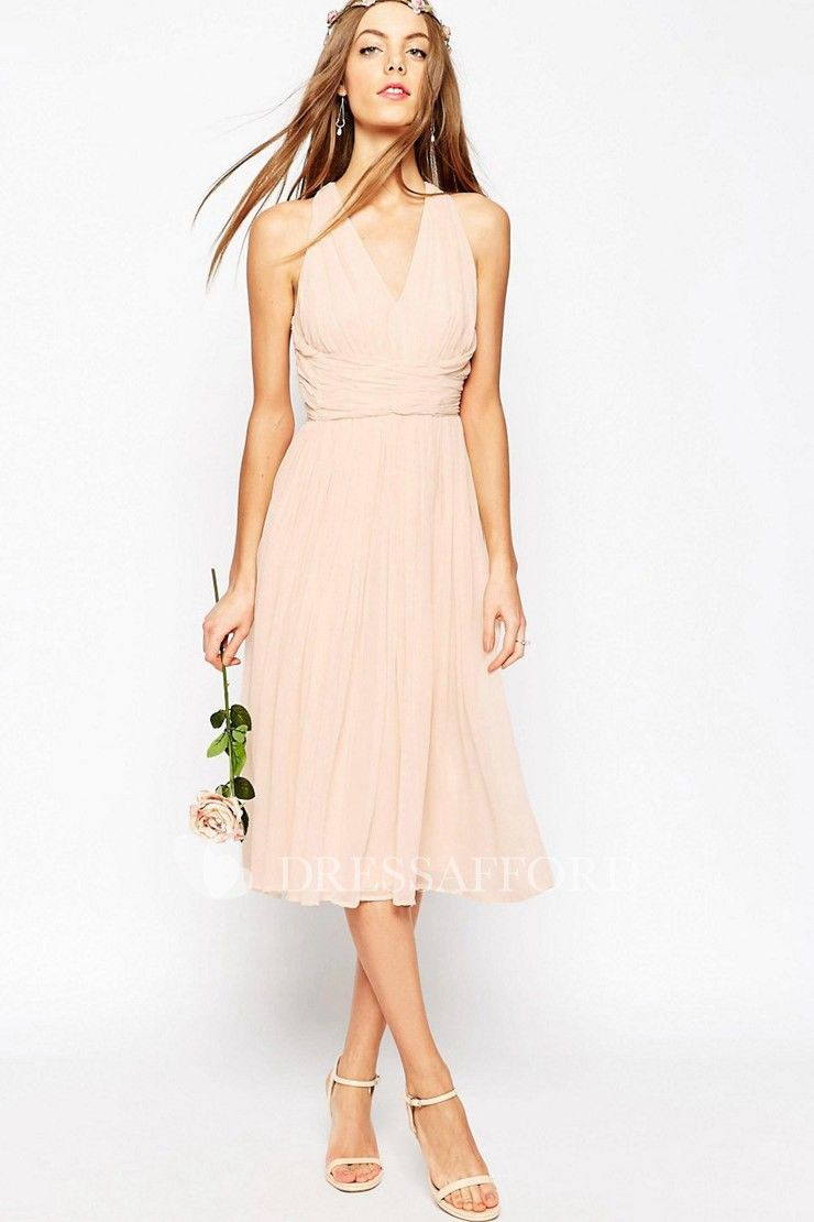 801dd08fcd29 V-Neck Tea-Length Pleated Sleeveless Chiffon Bridesmaid Dress With Ruching  And Straps