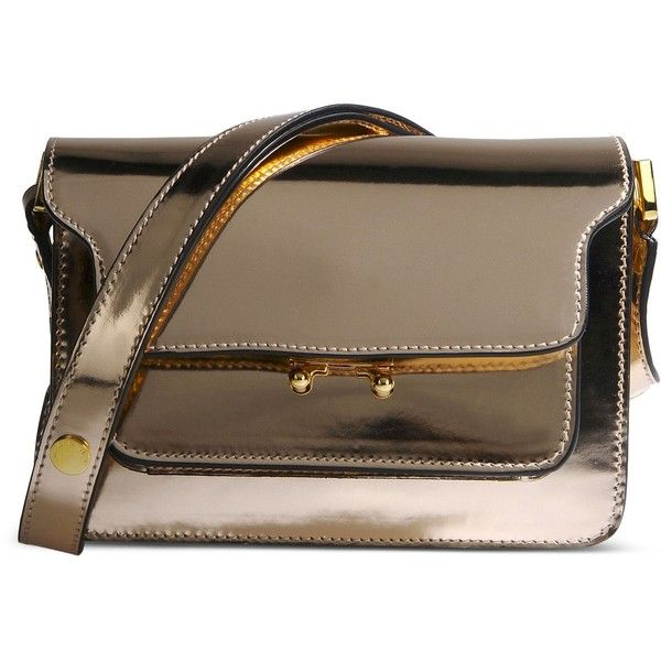 Marni Small Leather Bag (€1.190) ❤ liked on Polyvore featuring bags, handbags, shoulder bags, copper, real leather purses, mini handbags, brown leather purse, leather shoulder handbags and leather shoulder bag