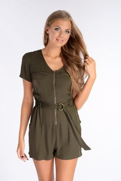 e28686708c7 Rebecca Khaki Military Style Belted Playsuit