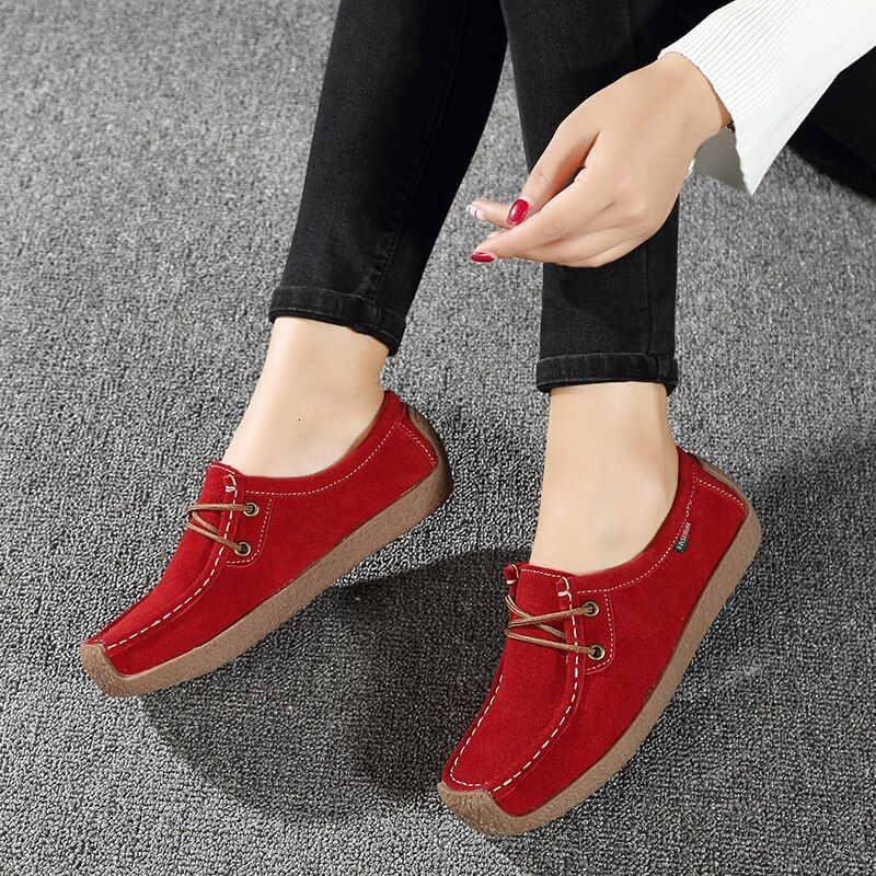 Shallow Time Women Casual Suede Leather Sneakers