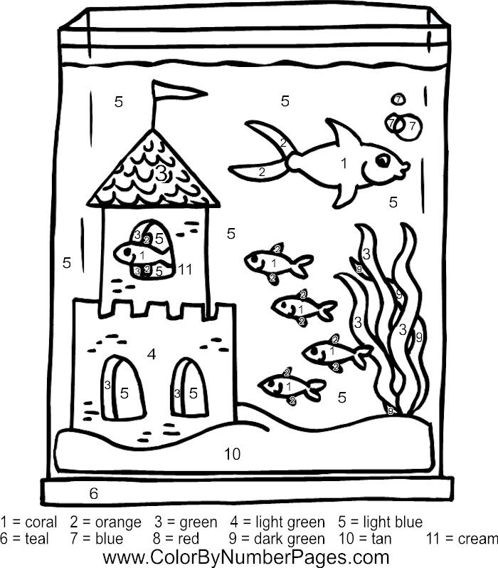 fish tank color by number page | Coloring pages, Fish tank ...