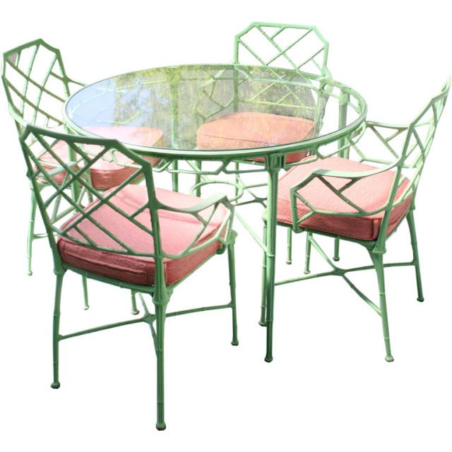 Vintage Faux Bamboo Outdoor Dinette Set Painted Spring Green With Pink Terry Sunbrella Cushions