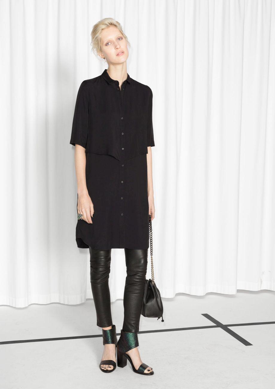 Layered Shirt Dress   Black   Layering, Workwear and Minimalist chic
