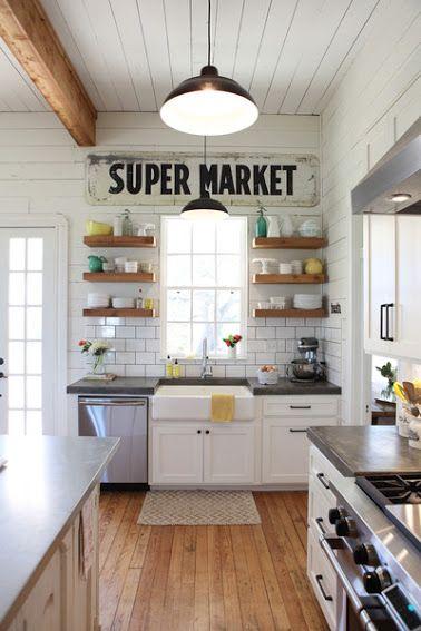 open wood shelves & white subway tile // kitchen style, white plank ceiling