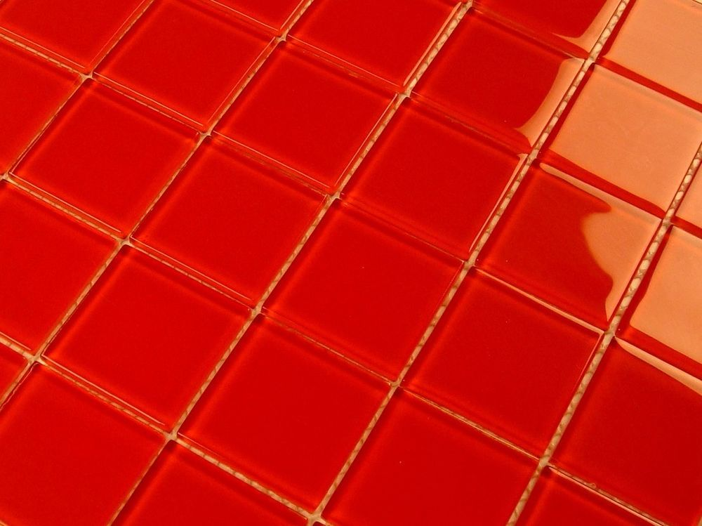 "CARDINAL RED 2"" X 2"" X 4MM GLASS MOSAIC BACKSPLASH, WALL TILE - CLOSEOUT  6.99"