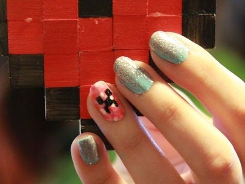 Minecraft Inspired Nails - How to