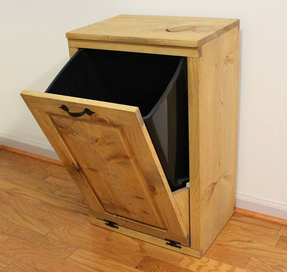 Superbe Tilt Out Trash Can   Wooden Trash Bin   Wood Trash Box   Cabinet To Hide