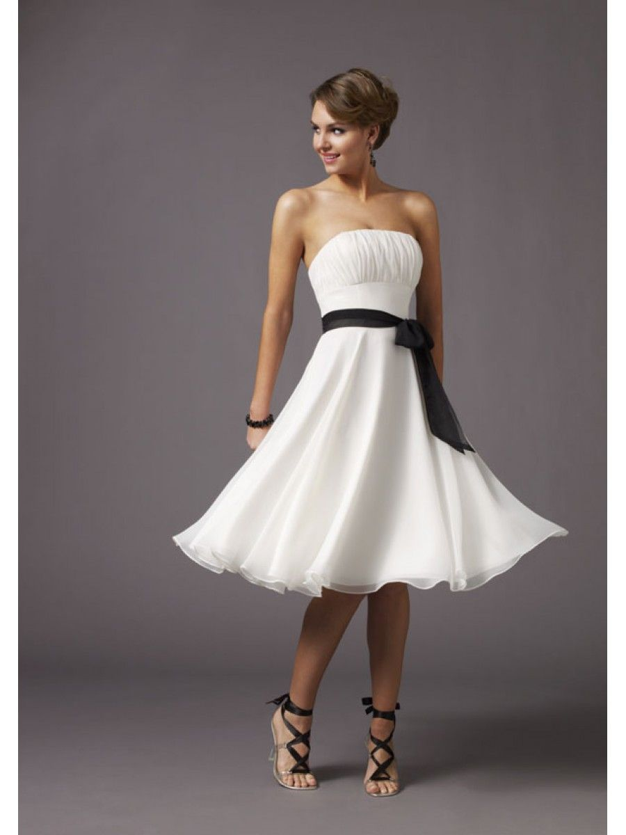 Bridesmaid Dresses Black And White Short Bridesmaid Dresses Gowns Sweetheart A-line Knee Length Pleats Chiffon Beach Wedding Party Gowns Reception
