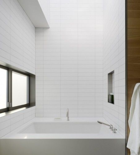 White Horizontal Tiles Modern Bathroom Bathroom Design Subway Tiles Bathroom
