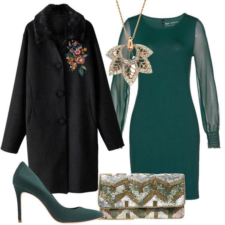 8ddd88c52cb5 Outfit chic composto da vestito verde