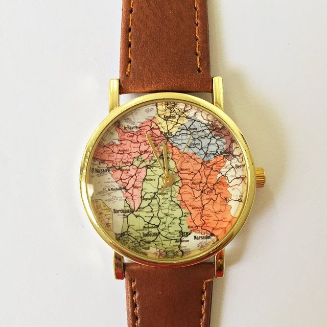 France Map Watch , Vintage Style Leather Watch, Women Watches, Boyfriend Watch, Vintage Map , World Map, Mens Watch, Silver Gold Rose Gold Ships Worldwide Type: Quartz Wrist Size: Adjustable from 16.75 cm to 20.75 cm (6.59 inches to 8.16 inches) Display: Analog Dial Window Material: Glass Case Material: Metal Case Diameter: 3.9 cm (1.53 inches) Case Thickness: 0.7 cm (0.27 inches) Band Material: PU Leather Band Width: 1.9 cm (0.74 inches) Band Length: 22.75 cm (8.95 inches) Band Color : tan…