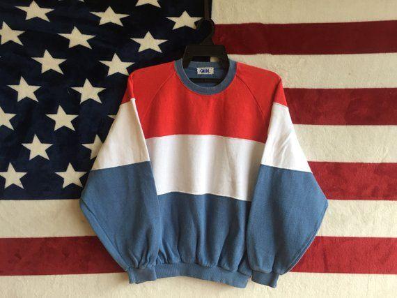 Vintage 80s Stripes Sweatshirt Three Colour Way Retro Crewneck Red White  Blue Pullover Medium Size S ebb88704e