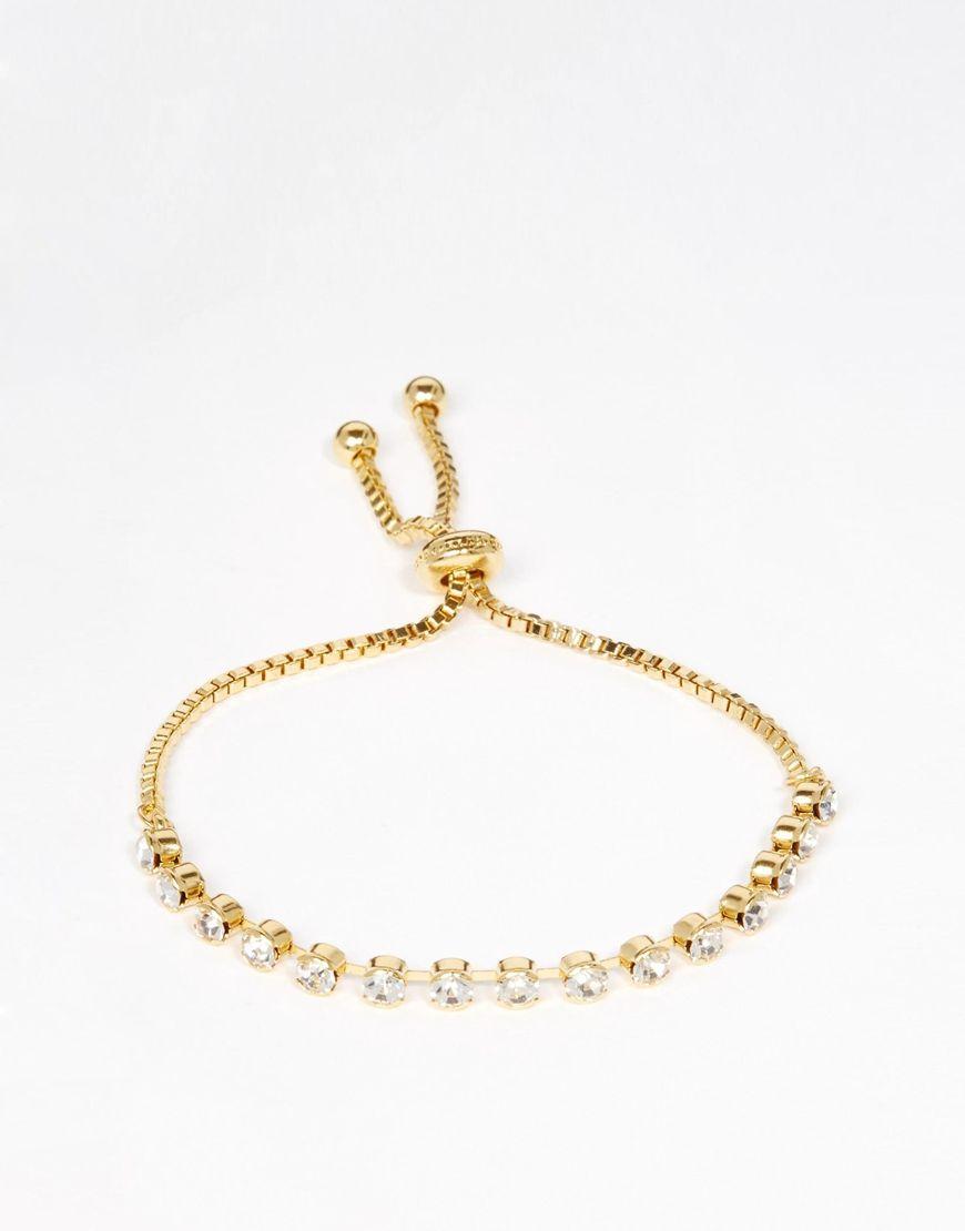 Love rocks diamante golden chain friendship bracelet jewellery