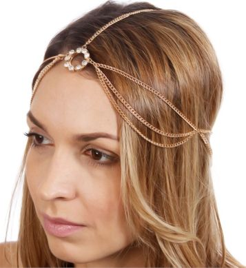 Layered Head Chain W/Rhinestone Pendant